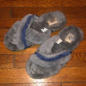 Ugg Abela slippers sandals grey shearling sz 9 euc